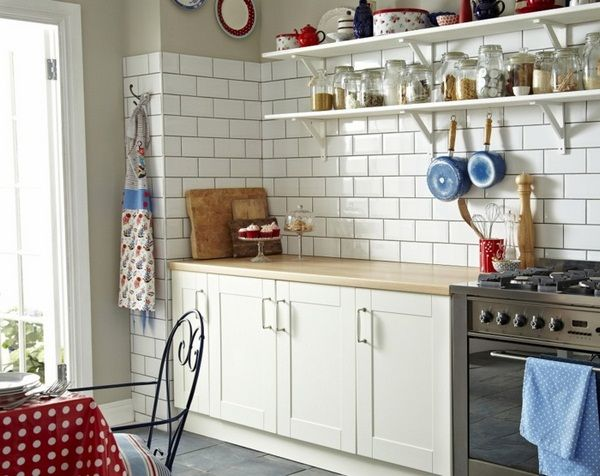 Wall design kitchen white wall tiles gray floor tiles fresh tablecloth