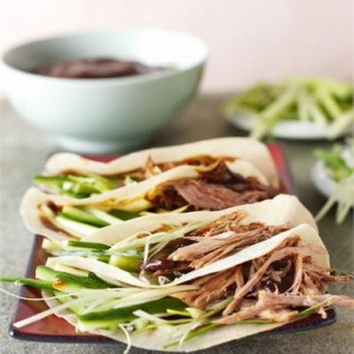 CRISPY DUCK Recipe Main Dishes with duck, cucumber, spring onions, hoisin sauce, chinese pancakes