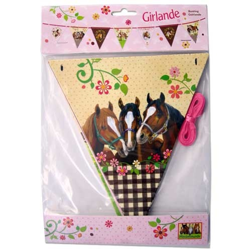 """horse party, birthday party, kids party, horse gift, horse themed party supplies -Party Supplies: Horse Friends Flag Banner 9' 10"""" long"""