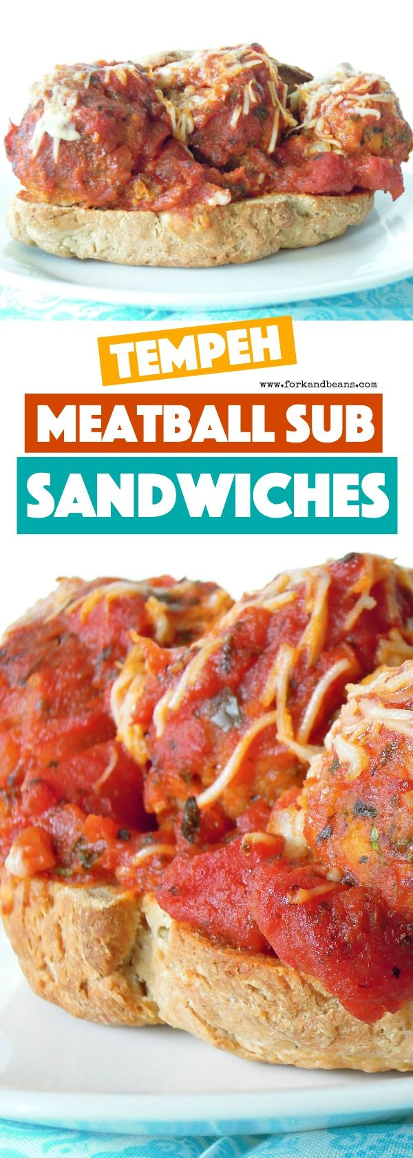 Ground up tempeh, rolled into balls and smothered with marinara sauce make these Vegan Meatball Sub Sandwiches a delicious dinner option!