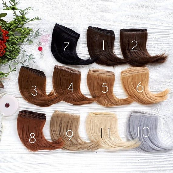 10 cm (4″ inches). Hair for dolls. Straight hair. Tress. Synthetical hair. Weft. Hair for doll wigs.