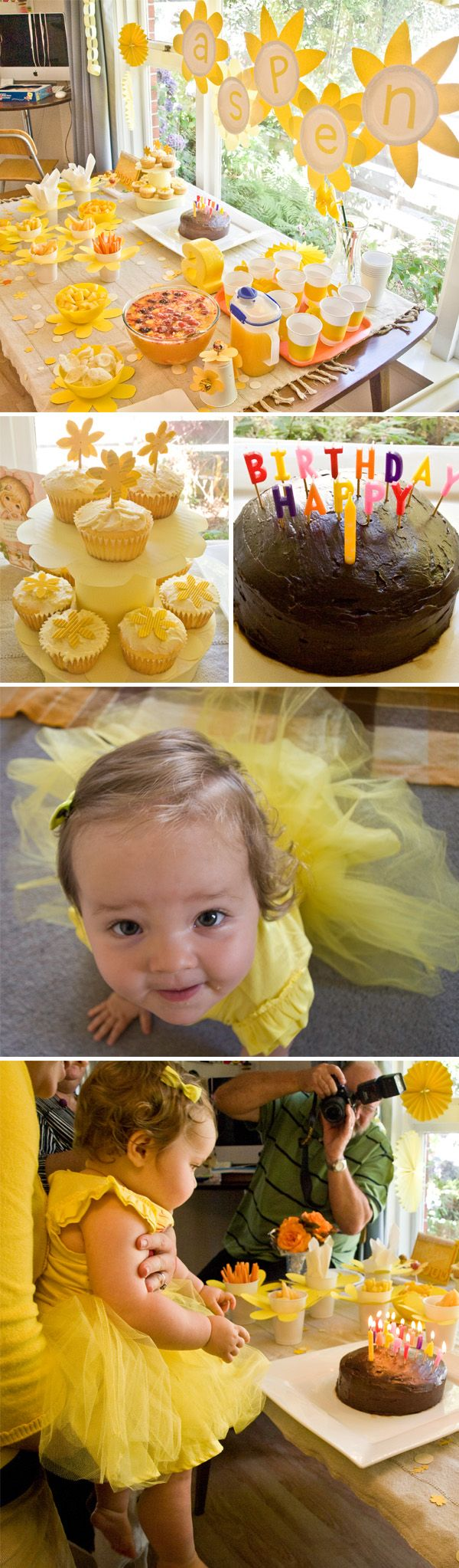 yellow birthday party.   i can see bringing in sunflowers and playing black or brown as an offset.
