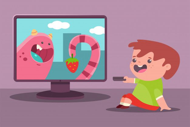 Petit Garçon Regarde La Télé Cartoon Illustration Boys Watches Cartoon