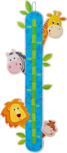 HABA Groeimeetlat Dierentuin - Een beestachtig mooie groeimeter! Nieuwsgierig houden de aap, giraf, zebra en leeuw in het oog hoeveel centimeter de kinderen zijn gegroeid. Schaalverdeling van 70 tot 140 cm. De meetlat is eenvoudig in te klappen.  Materiaal: Multiplex  Afmetingen: H 91 x B 38cm