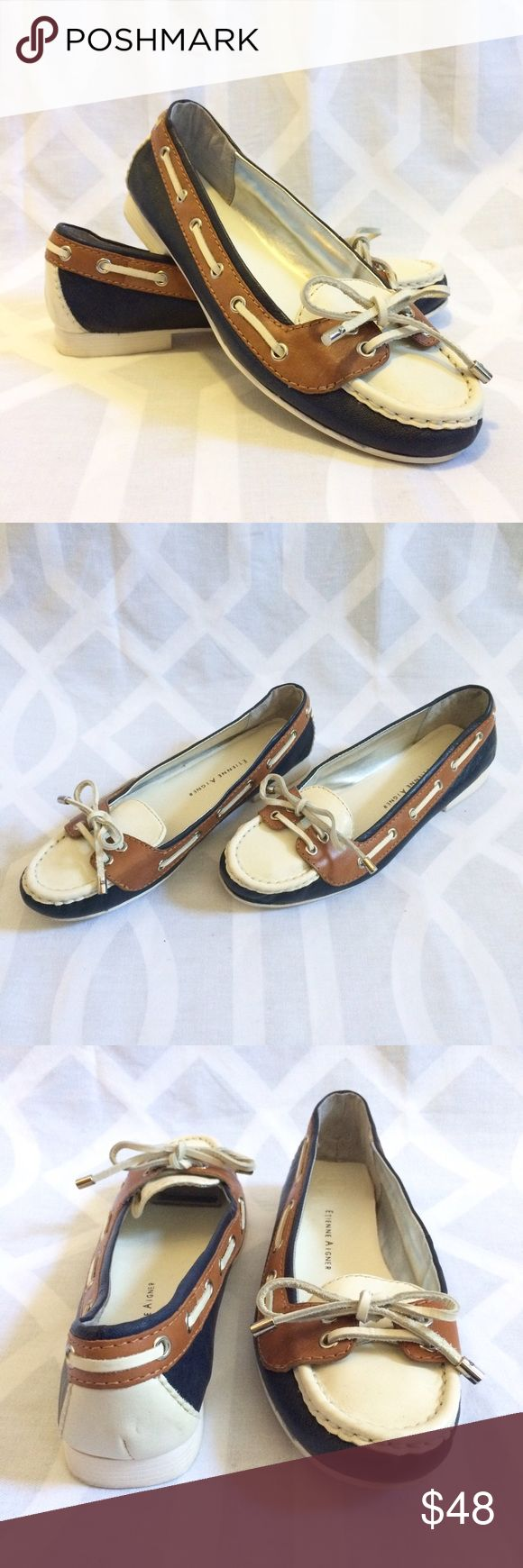 ETIENNE AIGNER Navy Contrast Leather Boat Shoe ETIENNE AIGNER Navy, Tan, & Cream Genuine Leather Boat Shoe Loafers. Leather Ties, Silver-Tone Hardware. Classic. Cool. Comfortable. Beachwear. Brunchwear. Everyday wear.  Condition: Excellent/EUC   Material: Genuine Leather  Style: Boat Shoe Loafer Size: 8 Heel Height: 5/8in Etienne Aigner Shoes Flats & Loafers