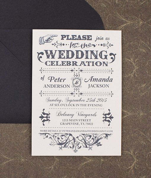 Wedding Invitations Old Fashioned: Old Fashioned Typography Wedding Invitation In 2019