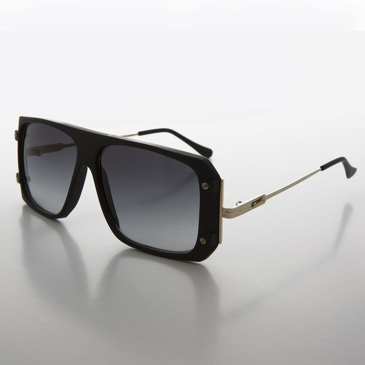 Flat Top Hip Hop 80s Vintage Sunglass with Gold Temples NOS-COOL