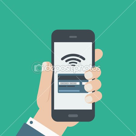 Mobile credit card payment hand holding phone flat design — Stock Illustration #45197769