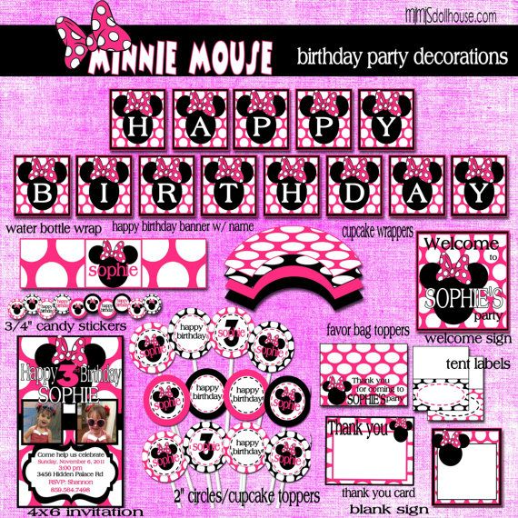 minimouse birthday party | Minnie Mouse Birthday Party Decorations-Personalized-Pink or Red Polka ...