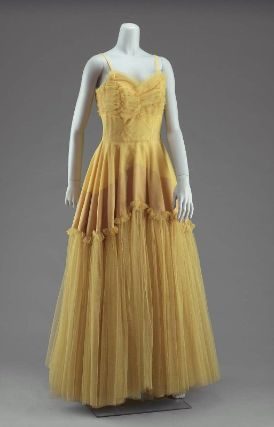 Woman's evening dress  American, about 1950  Beth Paige,  Boston, USA  DIMENSIONS  151 x 78 cm (59 7/16 x 30 11/16 in.) overall measurement taken flat for hanging storage  MEDIUM OR TECHNIQUE  Silk faille and nylon net with metal zipperEvening Dresses, Nylons Nets, Beth Paige, Fine Art, Metals Zippers, Dresses American, 1950 Beth, Silk Faille, Dresses 1950