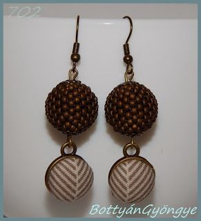 Őszi gyöngybogyós fülbevaló gombbal - matt bronz / beaded bead earrings and button
