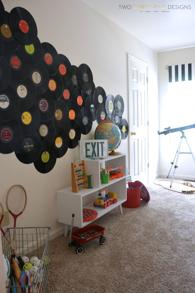 GMC Hidden Treasure Adventure Play Room Reveal - Two Thirty-Five Designs - what a cool wall mural with old LPs! (records)