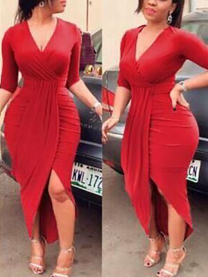 Elegant Women Pleated Slit Bodycon Dress (S M L XL 2XL)  27.99 aa1f4ec11324