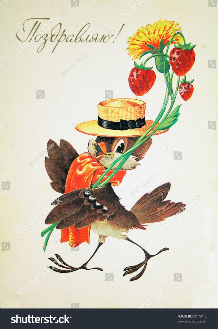 USSR - CIRCA 1987: Reproduction of antique postcard shows bird in the hat with flower and strawberry, circa 1987 Russian text: Greetings!