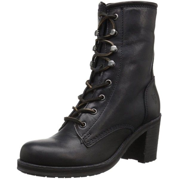 FRYE Women's Karen Lace-Up Short Combat Boot ($91) ❤ liked on Polyvore featuring shoes, boots, ankle booties, sapatos, lace up combat boots, short boots, lace up boots, short ankle boots and lace up booties