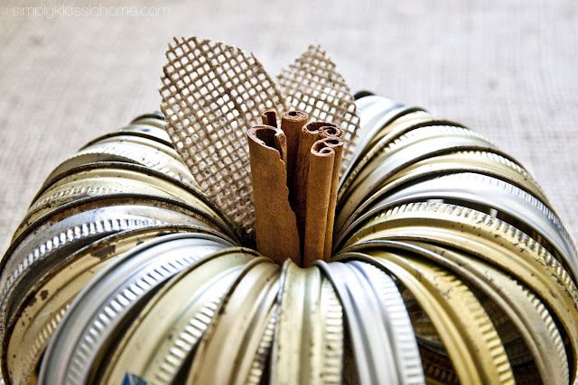 canning jar lid pumpkin with cinnamon sticks stem. Super cute!!!
