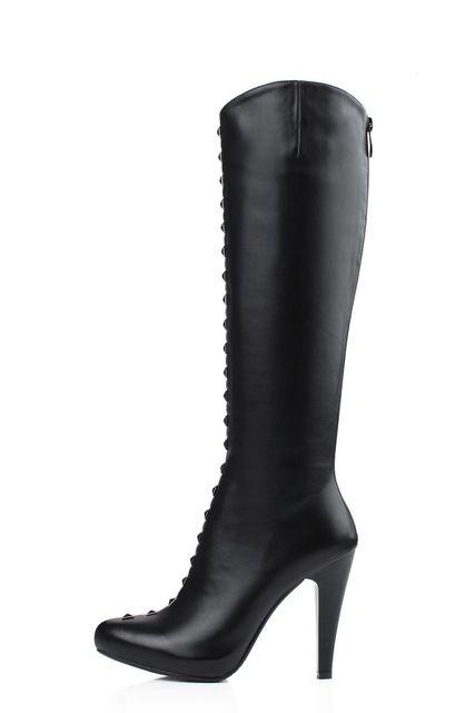 Gratis verzending 2015 vrouwen mode ronde neus hakken kniehoge met klinknagels pu laarzen groter maat ons 4-19