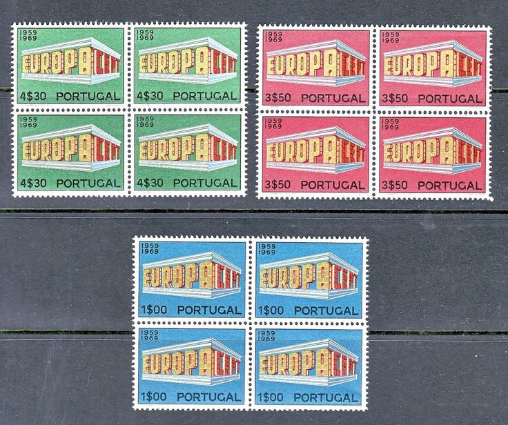 PORTUGAL 1969 SCOTT# 1038 1039 1040 EUROPA CEPT BLOCK OF 4 STAMPS, MNH
