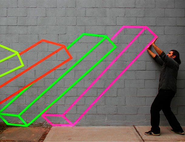 tape art | aakash nihalani (murals on your school walls that won't require paint!) Love this!!
