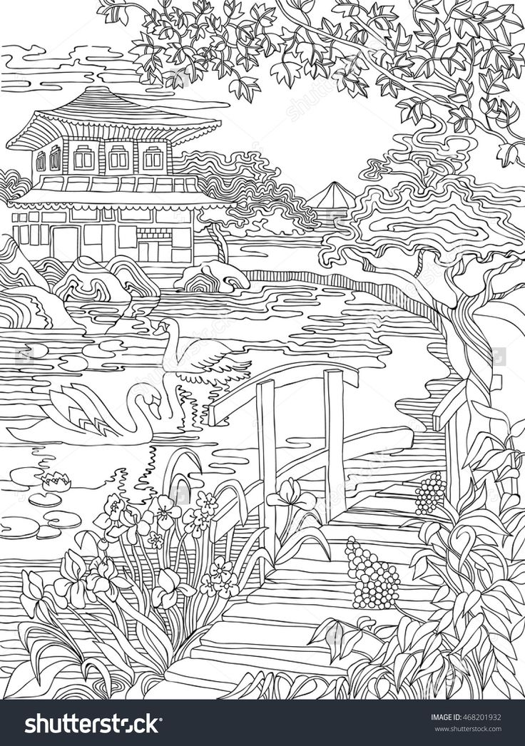 Coloring pages . Japanese house on the river bank ...