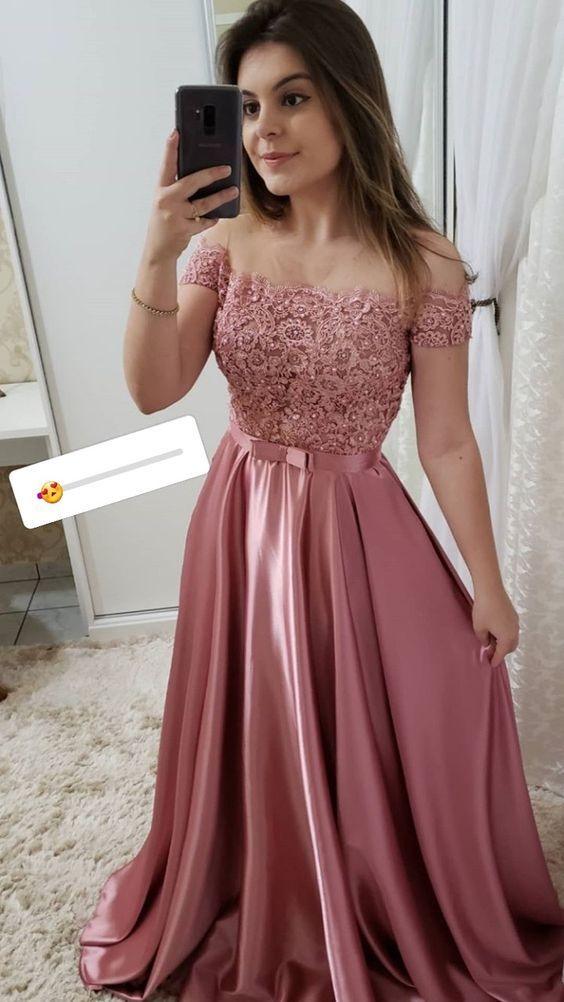 Off the Shoulder Pink Short Sleeves Lace Fancy Prom Dresses Formal Evening Dress LP510