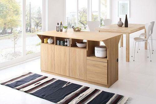 キッチン収納 作業台 テーブルになる1台3役のワイドバタフライ