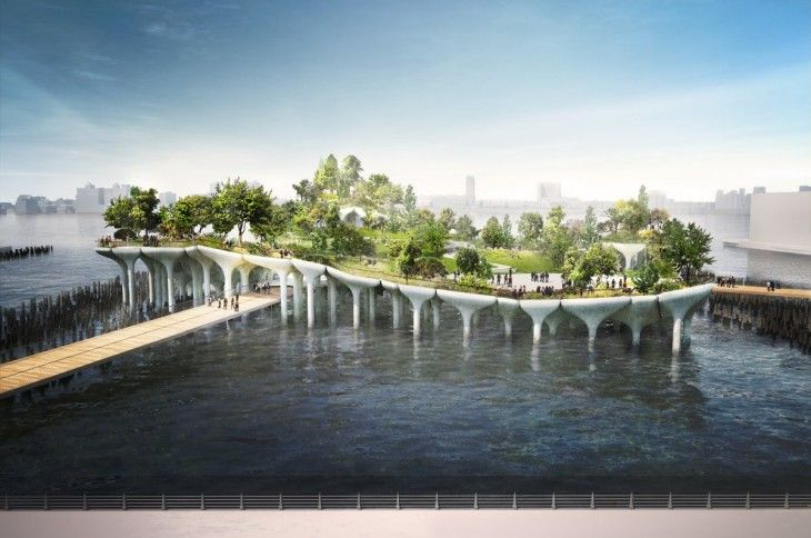 Project for public park & performance venues in former pier space --Floating Park in NYC by Heatherwick Studio Gets A Green Light (Among political supporters/funders: Diane Von Furstenberg & Barry Diller)