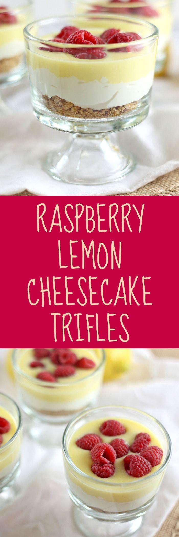 Raspberry Lemon Cheesecake Trifles - Rose Bakes