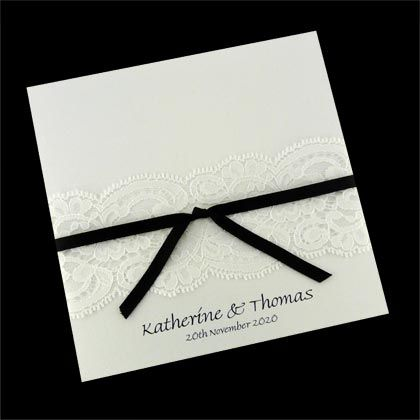 These diy wedding invitations include lace and ribbon. They are supplied printed and cut to size and just need assembly. www.kardella.com