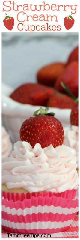 Fresh Strawberry Cupcake Recipe made from scratch. Inspired by a Starbucks Frappuccino!