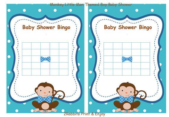 Monkey Little Man Baby Shower Bingo Blank Cards Gift Game Monkey Baby Shower Boy Bingo Gift Game -Instant Download Blue Polka Dot Blue Bows #littlemanbabyshower #babyshowerbingocards #babyshowergames