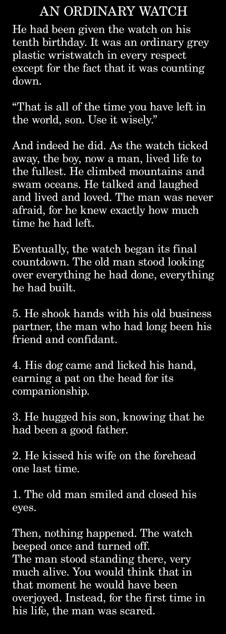 Short story from defunct website - author unknown  If you know the author, please leave information in comments