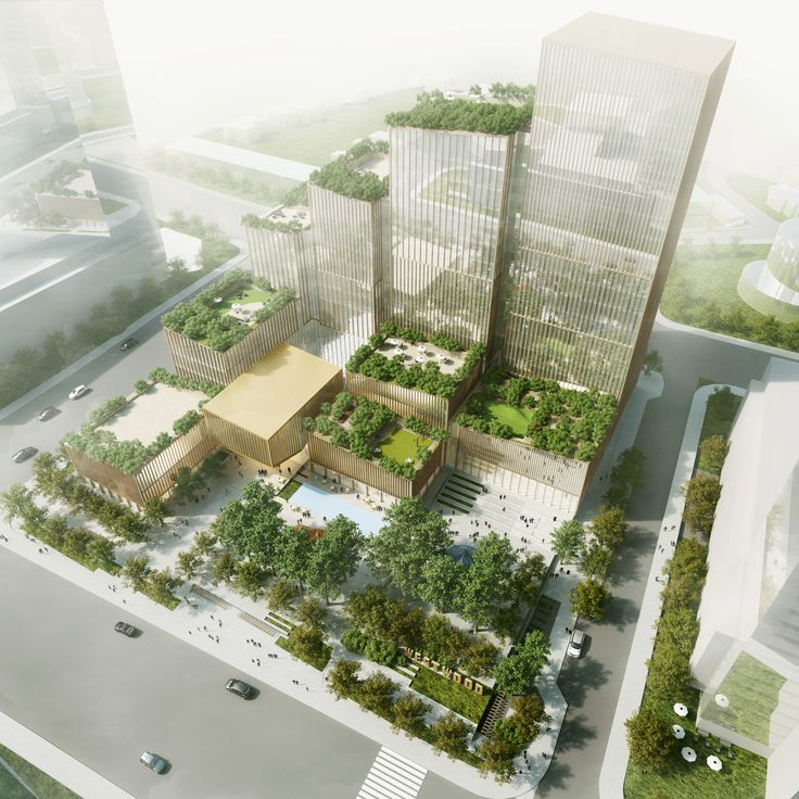 Henning Larsen arranges buildings to shelter public square from cold winds