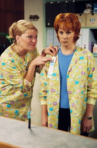 Melissa Peterman and Reba McEntire on Reba-  Reba and Barbara Jean!! Love this show!
