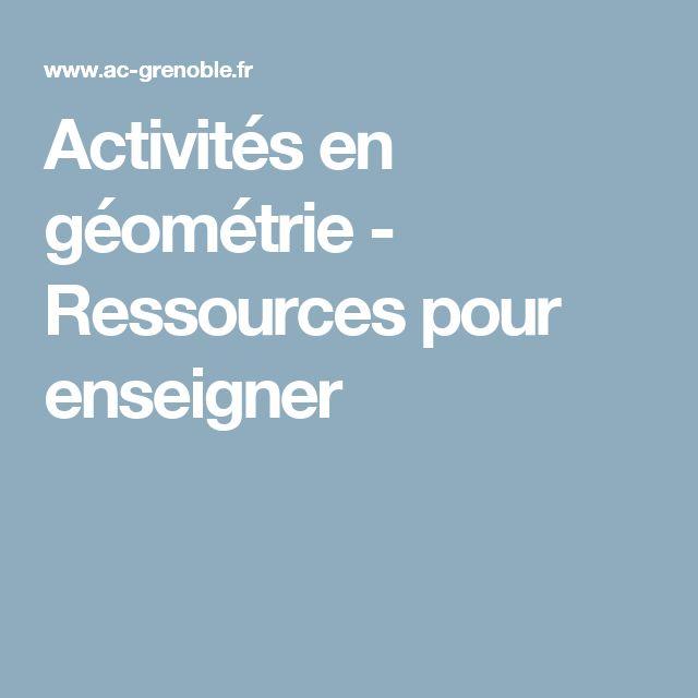 Activités en géométrie - Ressources pour enseigner