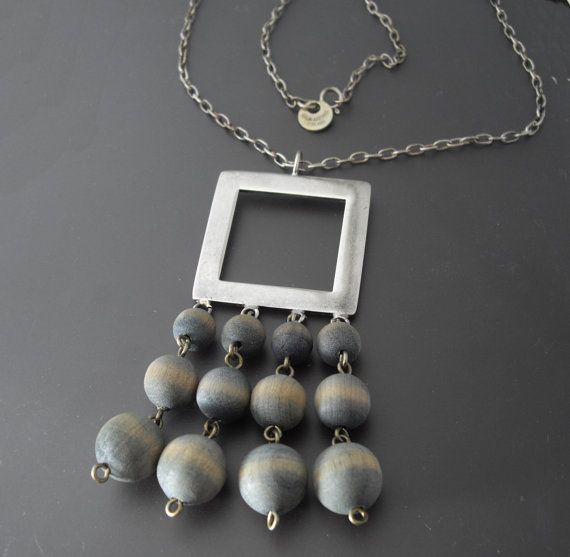Vintage Kaija Aarikka Wood Necklace, Modernist Silver Necklace, Finland Modernist Necklace, Scandinavian Jewelry, Statement Necklace on Etsy, $65.00