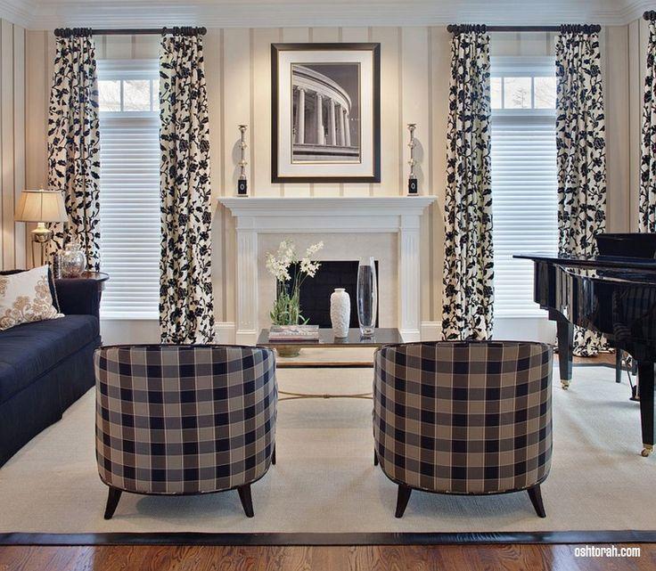 Черно-белые занавески в гостиной