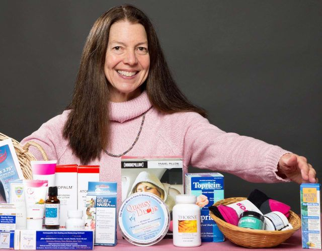 Margot Malin, founder of Lots to Live For, with an array of products that help cancer patients with the side effects of chemo, radiation, and surgery.