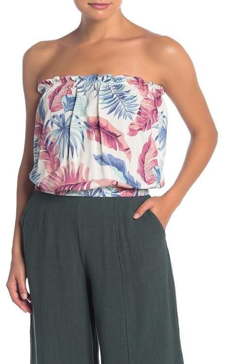 GOOD LUCK GEM Palm Tree Print Tube Top