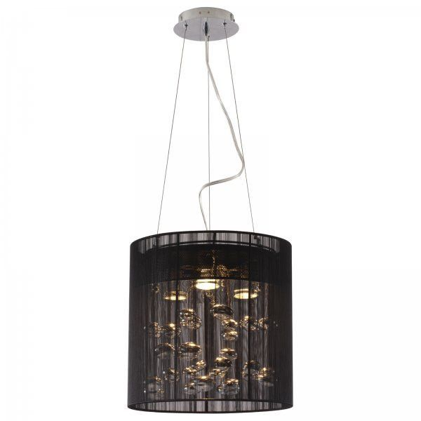 """Subatomic Ceiling Lamp (Black) (40.2""""H x 13""""W x 13""""D). The Subatomic Ceiling Lamp is a stunning piece, creating the illusion of pools of liquid chrome floating behind a black lace veil. This modern chandelier features three 50-watt halogen bulbs, just the right amount of light for the dining room. The height is fully adjustable - true contemporary lighting for the home. Bulbs included. Designed to be hardwired. UL Listed. Assembly level/degree of difficulty: Moderate."""