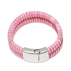 Pink Leather Braided Bracelet