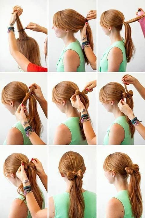 Bow ponytail, nice and easy. Cute for little girls and teens.