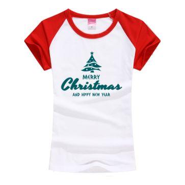 オリジナルTシャツ ラグラン袖 レディース クリスマスツリー 上質作成
