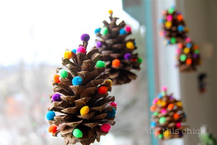 Easy DIY Christmas Ornaments - Cute pom pom pine cones
