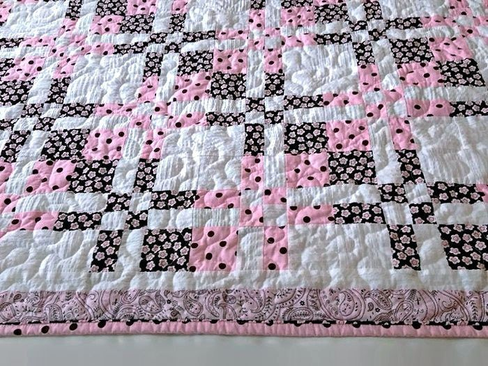"""Pink, Brown & White Baby Quilt, Handmade Lap Quilt, Quilted Throw, Modern Patchwork Quilt for Sale, Homemade Quilt – 43-1/2"""" x 50-1/2"""" by DocksideDesigns on Etsy"""