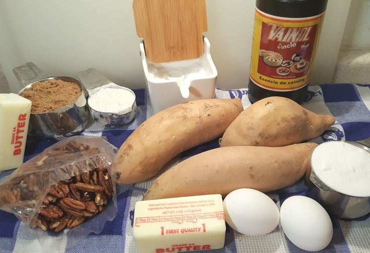 Cast of Ingredients for Ruth's Chris Sweet Potato Casserole Image