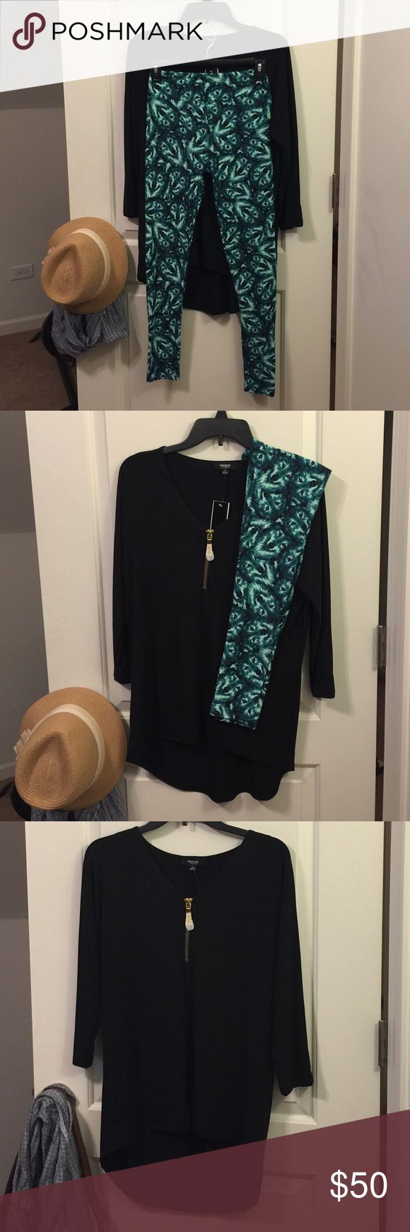 Premise Studio Hi-Lo Tunic & OS LulaRoe Leggings TOP - made in VietnamNWTBlack hi-lo tunic with 3/4 sleevesStretchy material, 95% Polyester 5% SpandexSize Small.  LEGGINGS - made in China. Part of my Unicorn Vault Collection bought directly from various LulaRoe Consultants only. NWT, Hard-To-Find Wolves  Prints.  Runs small around the waist.   ***Sold as Combo or Individually   Combo Price:  $50.00 Top only:  $15.00 Leggings only:  $40.00  ❌ to Trades Premise Studio & LulaRoe Other