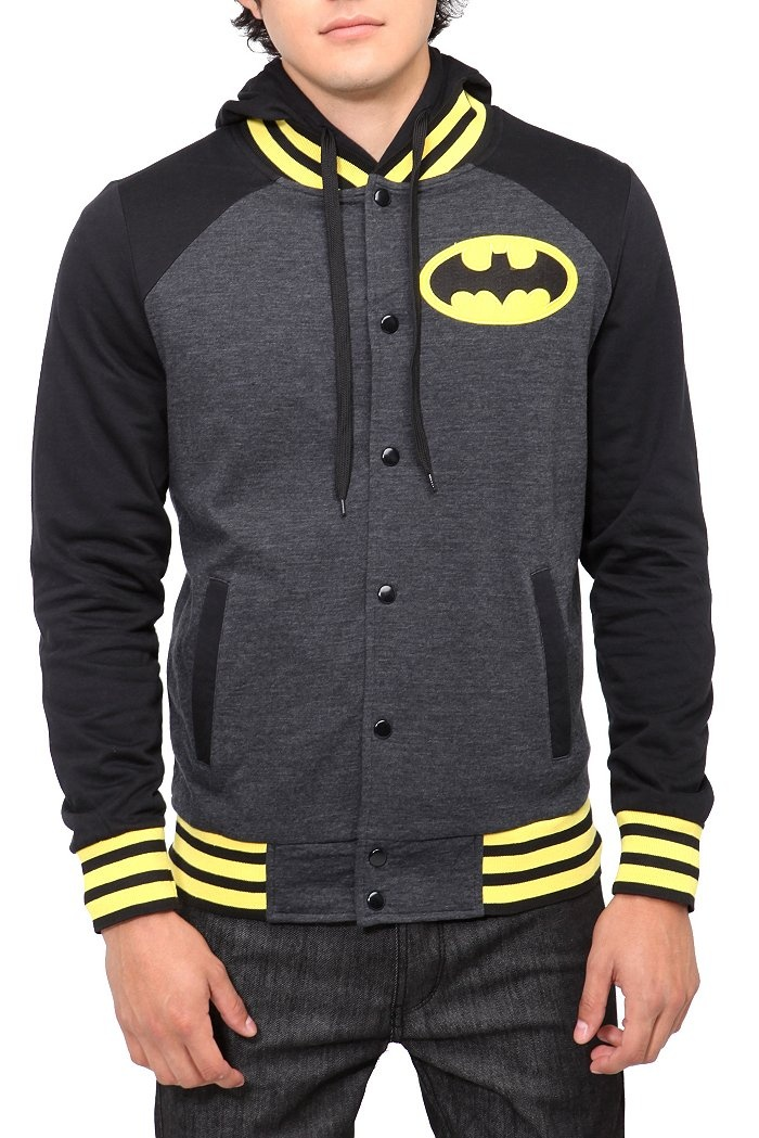 DC Comics Batman Varsity Hoodie $49.50 #HotTopic (Free poster with purchase of 25 dollars or more from Batman. Men's sizes but still cute on women!)