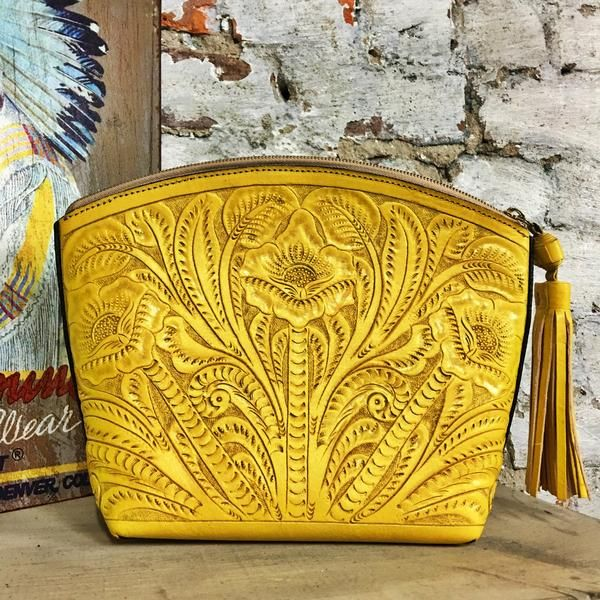 """- Tooled Leather Cosmetic Bag - 6"""" Leather Fringe Tasseled Zipper - 11.5"""" x 8.5"""" 