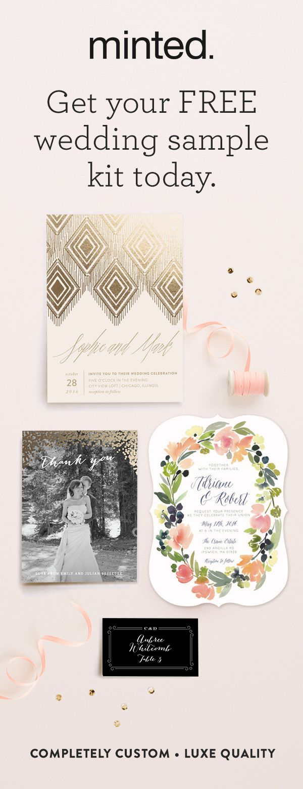 Sample 5 different designs plus swatches of our premium paper for free. �Order your wedding kit today!
